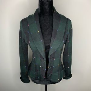 Anthropologie Plaid Navy Sweater Blazer Size Small